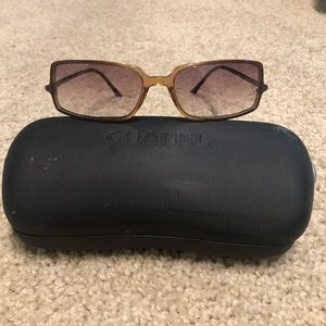 Chanel Vintage Womens Sunglasses with Crystal Logo